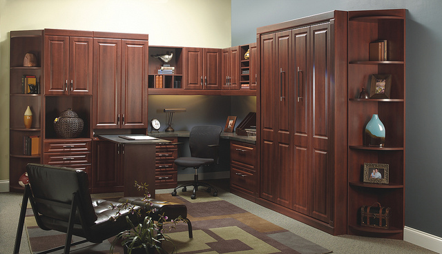 Custom park avenue style murphy bed and home office.