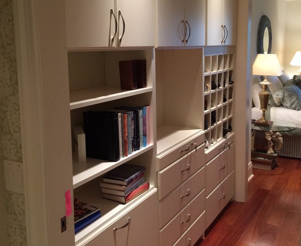 Row of shelving in custom closet