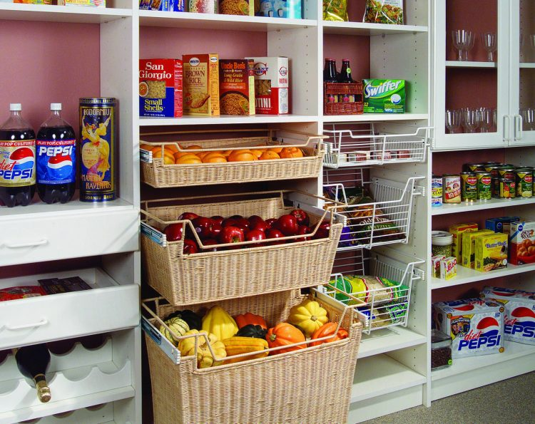 Organized pantry shelving and baskets