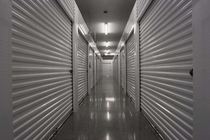 Hallway of self storage units