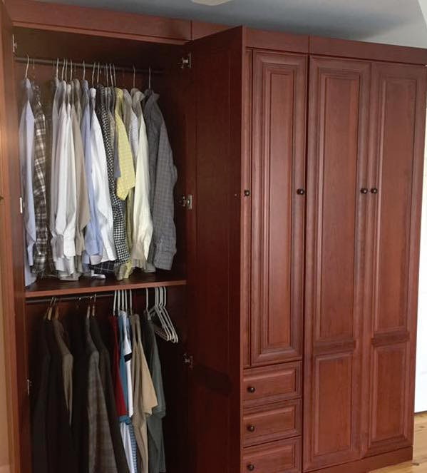 Double-hang area in custom wardrobe cabinet Charleston