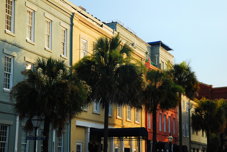 Row of colorful apartments Charleston SC