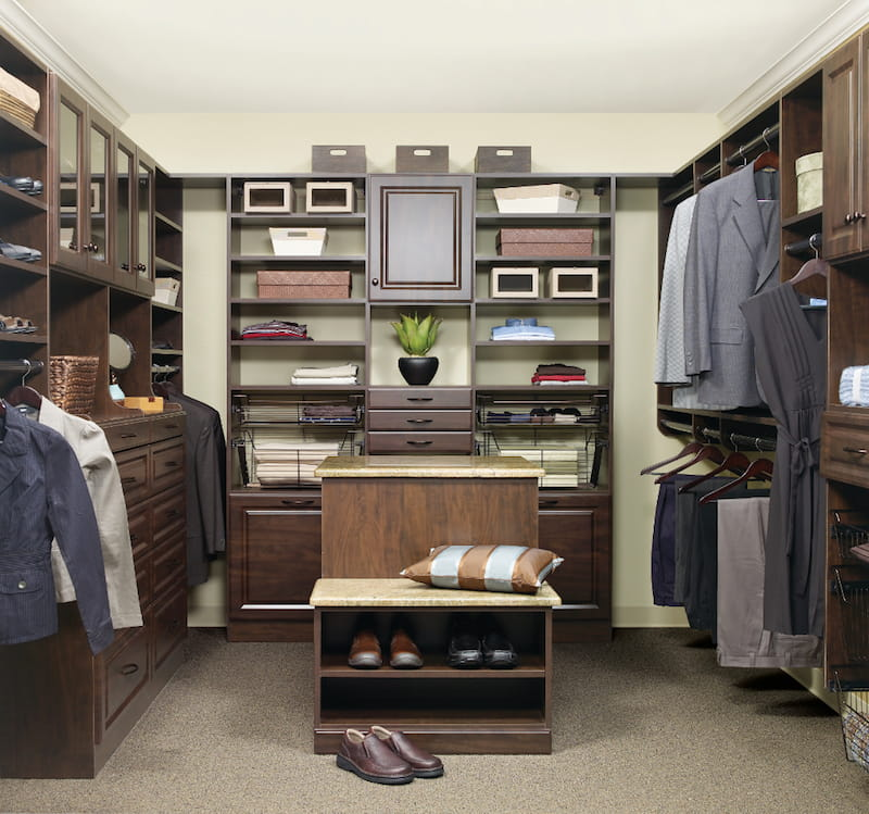Myrtle Beach modern custom closet dark wood