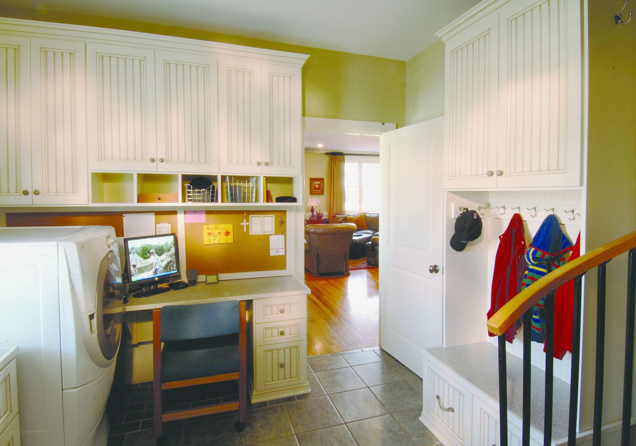 White custom mudroom storage units