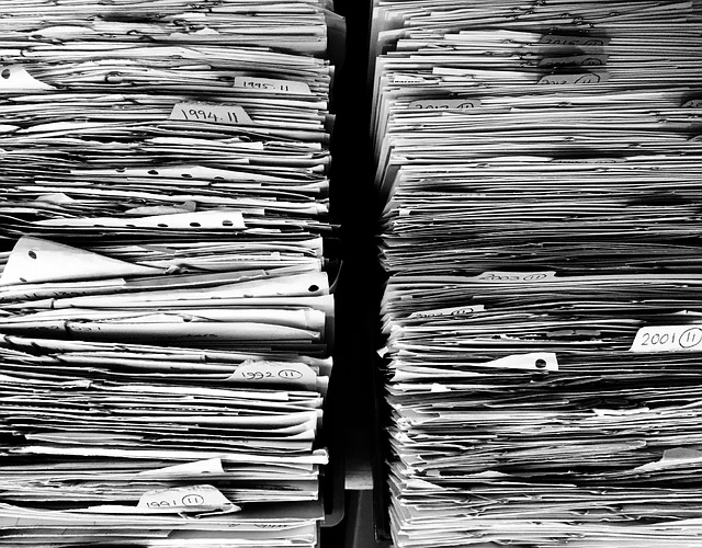Messy paper in file cabinet