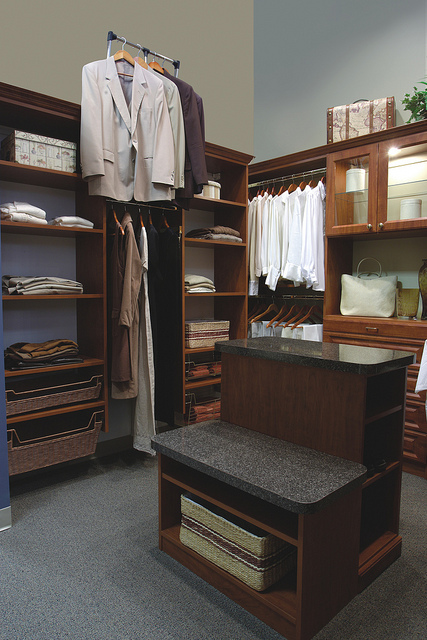 Wardrobe lift in traditional custom closet