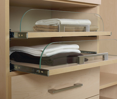 Custom closet shelf with modern hardware