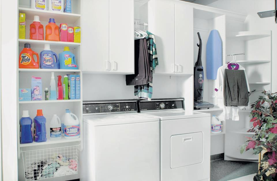 Custom laundry cabinets and organizers