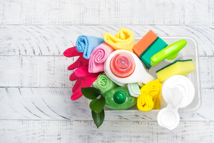 gentle cleaning supplies in bucket
