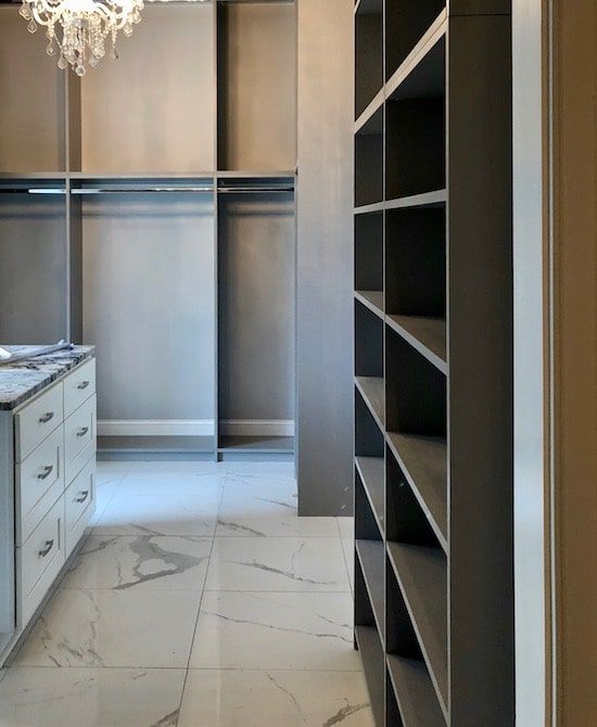 two-tone luxurious closet system in pelican bay, myrtle beach