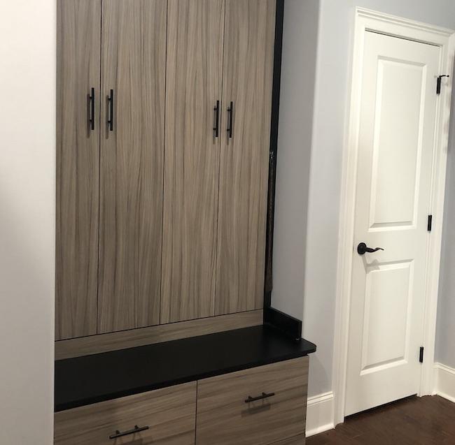 wood built-in mudroom organizer cabinets Myrtle Beach