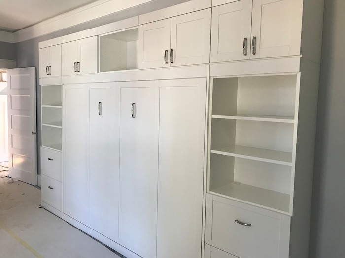 white built-in cabinets and Murphy bed Myrtle Beach SC