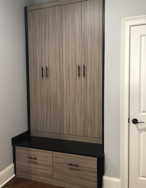 Myrtle Beach custom mudroom cabinets in sandalwood