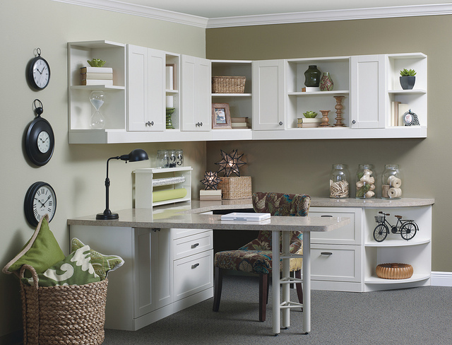 Built-in white desk and office furniture