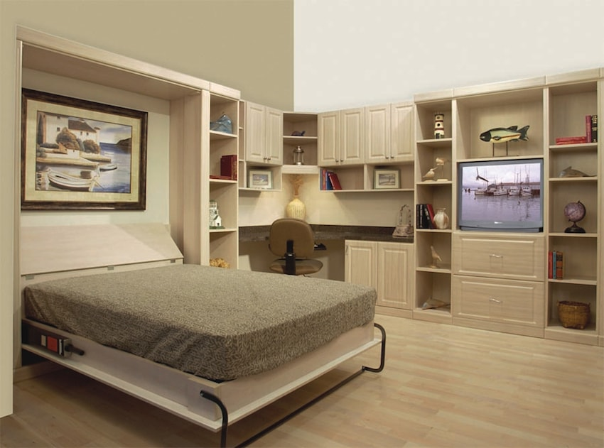 guest room with a wall bed system and office