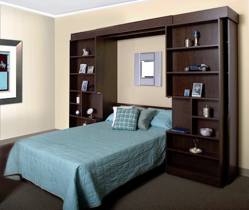 custom bookcase murphy bed in dark wood finish