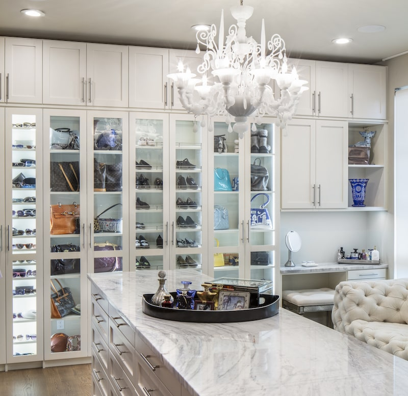 luxurious master walk-in closet system