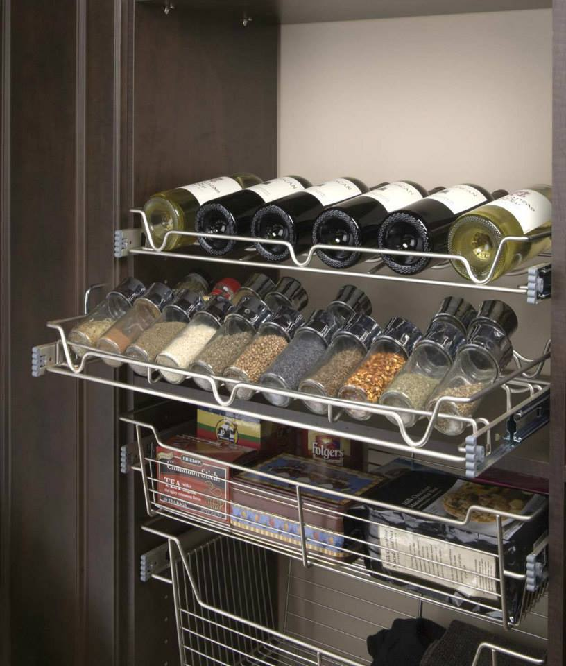 Wine and spices stored in wall rack
