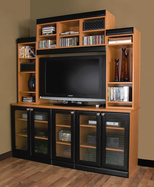 custom entertainment center with glass shelves