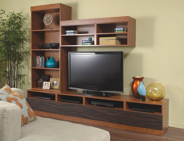custom media wall unit shelving