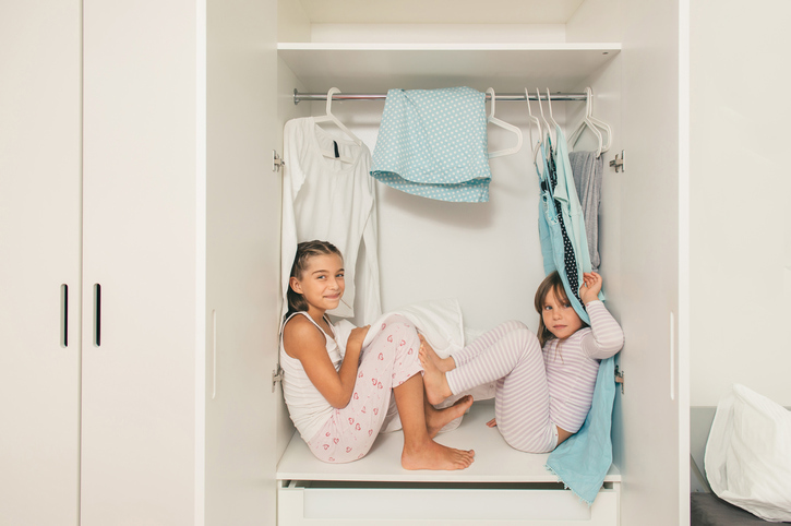 Custom closet for kids. Siblings shared room.