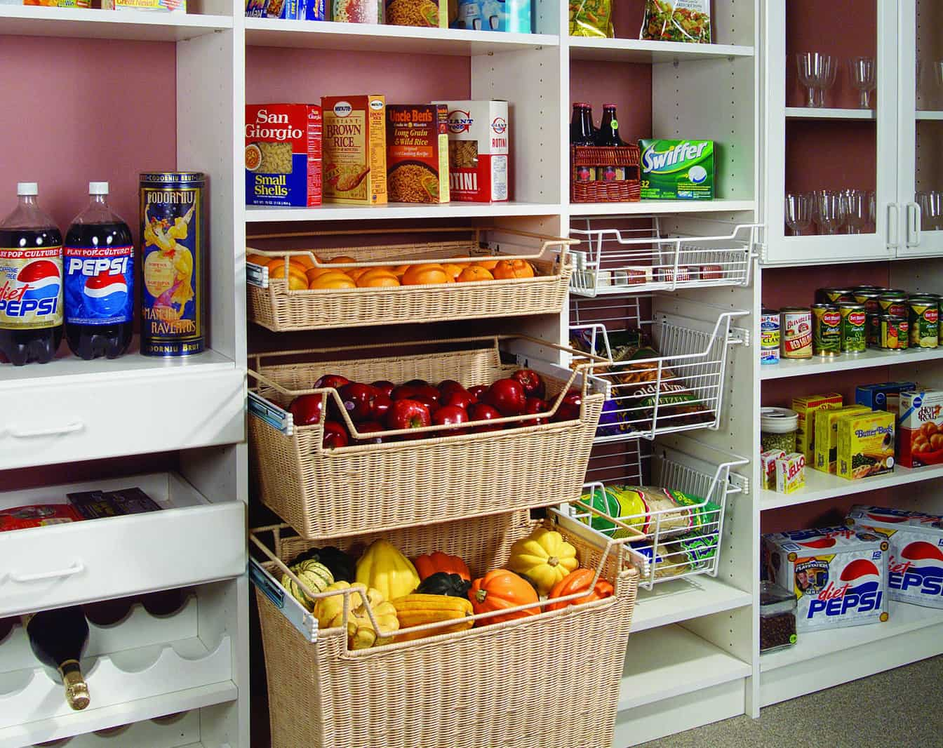 Custom Kitchen Pantry - Organized with Baskets - More Space Place