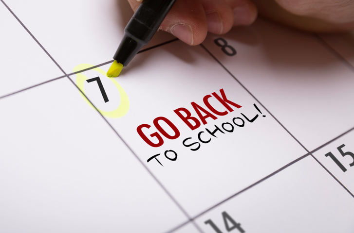 highlighted back to school calendar day
