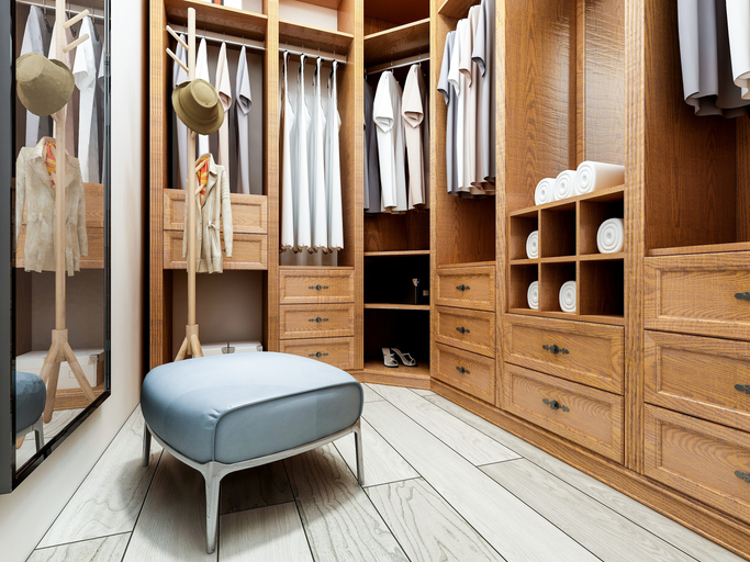 custom dream closet with bench
