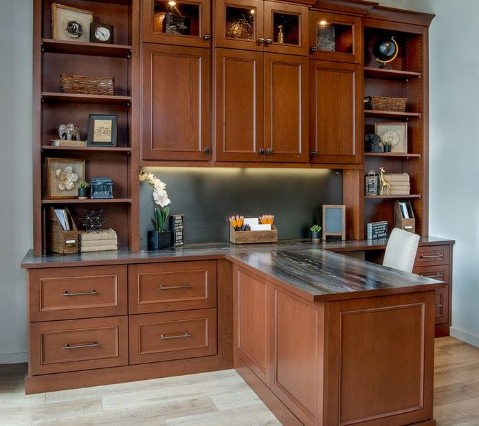 Custom desk with ample storage space