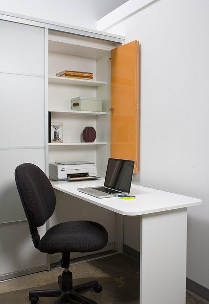 Drop-down desk with storage