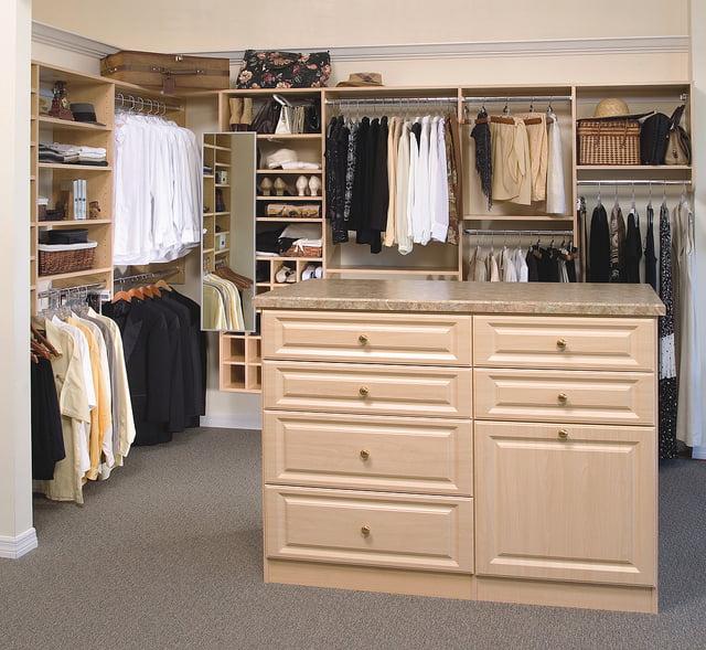Organized custom closet system.